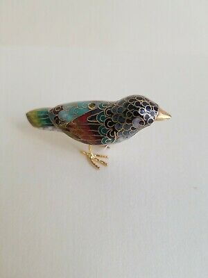Vantage Chinese Cloisonne Bird Figurine with tail downwards
