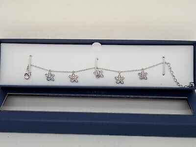 "Authentic Swarovski ""TUBEROSE""   Crystal link Bracelet  Rhodium    New in Box"