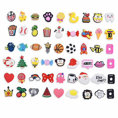 New Year Gift 50pcs Animals Food Fruit Shoe Charms Lace Adapter Fit Wristbands