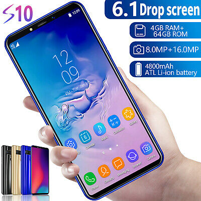 """Unlocked S10 Smartphone 4G+64G Android 9.1 16.0MP+8.0MP 6.1"""" Dual SIM 4 Core"""