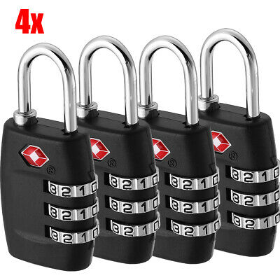 4pcs TSA Lock Travel Luggage 3 Digit Combination Resettable Suitcase Padlock