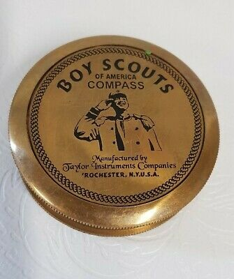 American Boy Scout Compass w/ Leather Case Brass Antique Finish Brand New