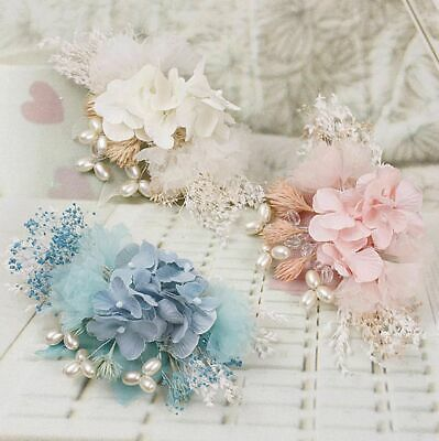 Pink Blue Off White Dried Flower Hair Clip Wedding Headpiece Fascinator