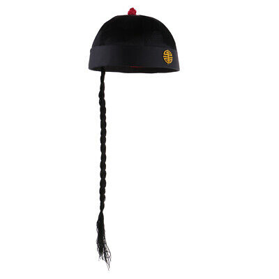 Adult Kids Chinese Oriental Cap with Ponytail Hat Costume Fancy Dress Hat