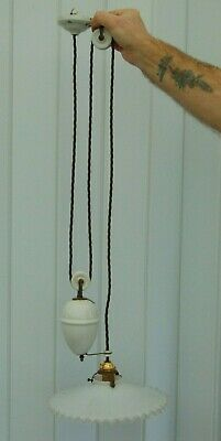 Vintage French Counterbalance Porcelain Rise & Fall Ceiling Pendant Light