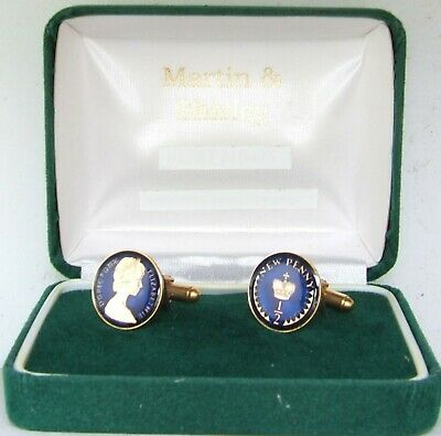 1976 Half Pence cufflinks from real coins in Blue &Gold