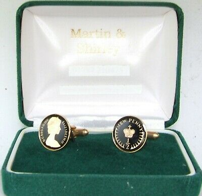 1976 Half Pence cufflinks from real coins in Black &Gold