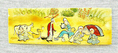 "Oriental Antique Miniature Hand Painting Gouache On Yellow Material ""Epic Scene"""