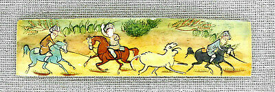 Oriental  Antique Miniature Painting Gouache On Yellow Material Hunting Scene