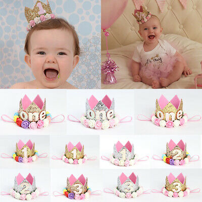 Toddler Kids Birthday Crown Baby Girl Flower Tiara Headband Party Hat Hairband