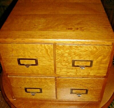 Antique Quarter-Sawn Oak 4 Drawer Stack able Card File 2 Stacks 4 X 6 cards 813
