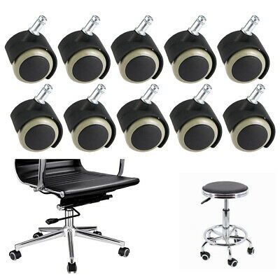 10pcs Replacement Office Chair Caster Wheel Swivel Wood Floor Home Furniture Blk