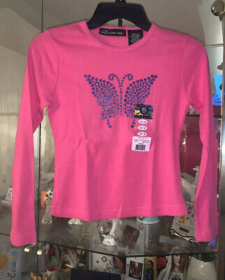 No Boundaries Girls 10/12 Ribbed Pink Long Sleeve Butterfly