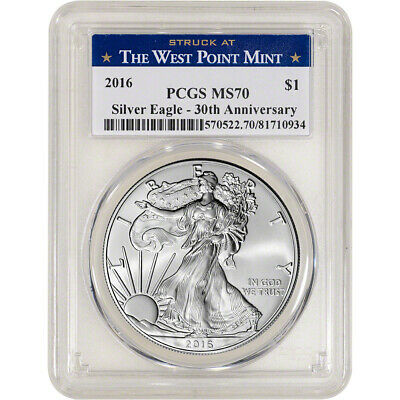 2016 American Silver Eagle - PCGS MS70 - West Point Label