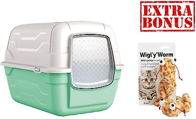 AJS LTD ® Green Cat Hooded Litter Tray Box Large Enclosed Loo Indoor Puppy Kitty