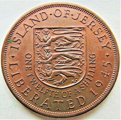 1945 Jersey George VI, Liberation 1/12 Shilling, Grading UNCIRCULATED.