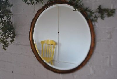 Superb Vintage Round Bevelled Wall Mirror With Copper Coloured Frame