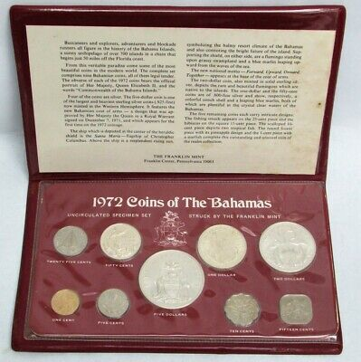 1972 Silver Commonwealth Of The Bahamas Franklin Mint 9 Coin Set
