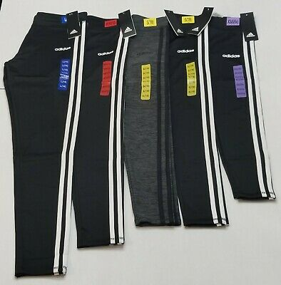 Adidas Girl's Size XS/S/M/L Black or Grey Three White Stripes Pants Leggings NWT