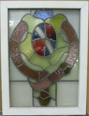 "MIDSIZE OLD ENGLISH LEADED STAINED GLASS WINDOW Abstract Shield 17.25"" x 23"""