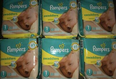 Pampers Swaddlers 12 Packs Of 20 Diapers Size 1 Sold By Case. Count 240