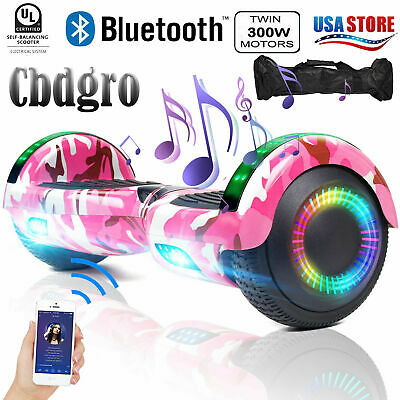 Bluetooth Hoverboard with LED for Kids Self Balancing Scooter 6.5inch Pink Bag