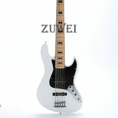 Electric Bass Guitar 5 Strings JB Style Black Inlay Maple Fingerboard