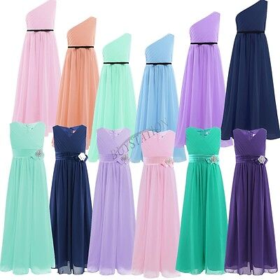 Flower Girl Dress Princess Pageant Wedding Party Prom Formal Pleated Maxi Dress