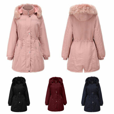 Women's Parka Jacket Padded Thick Hooded Midi Outerwear Coats Ladies Overcoat