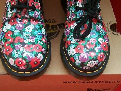 Dr Martens Pascal Wild Poppy Floral 8 Eye Uk Size 4 Girls New Boxed Flowers