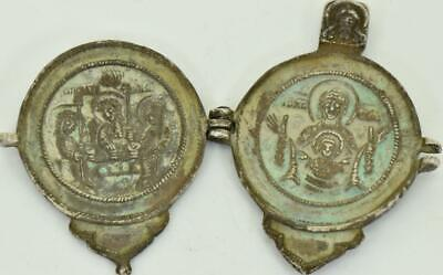 One of a kind antique 17th Century Imperial Russian silver travel icon diptych