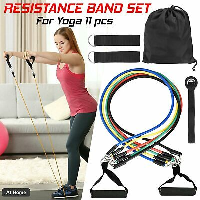 11 Piece Resistance Bands Set Yoga Gym Crossfit Fitness Exercise Workout Tubes