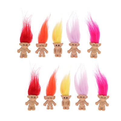 10 lot Troll Dolls Mini Action Figures Favor KIds Toy Collectable Dolls