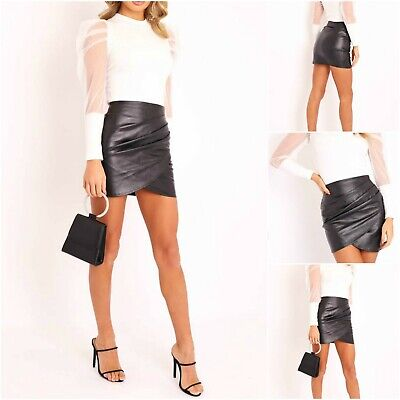 Womens Shiny Wet Look Ruched Mini Skirt Faux Leather PVC Ladies Bodycon Dress Uk