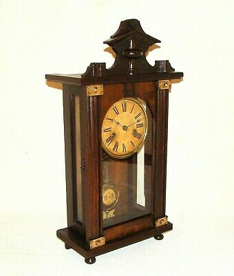 German PFEILKREUZ JUNGHANS antique c1903 Mantel or Wall Clock, Chimes on Gong