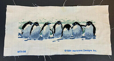 Completed crewel embroidery penguins picture 12 x 5 black blue white vintage