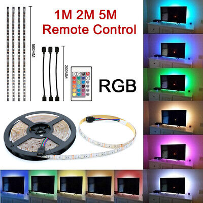 5050 Rgb Led Strip Lights Color Changing Tv Backlight Cabinet Lighting Remote Uk