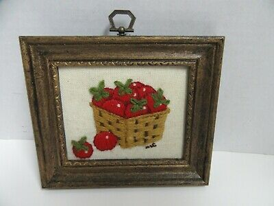 """Finished Framed Jiffy Crewel Embroidery Tomato Basket Completed 5.5x6.5"""""""