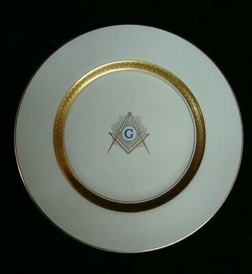 "Vintage Lorraine by Aladdin Masonic G 10.5"" Plate Cream, Gold Encrusted Inner"