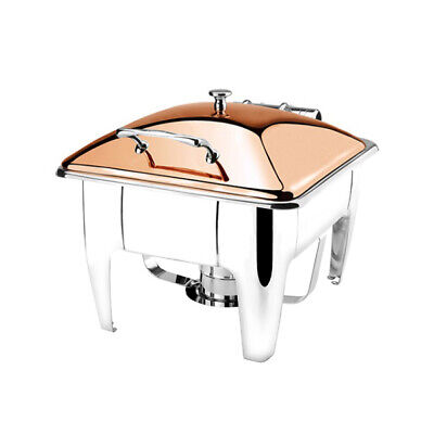 Athena Induction Chafer Rect 1/2 Stainless Golden Rose Lid w Stand Fuel Heated