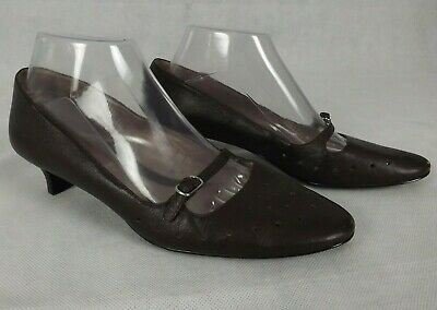 """Hush Puppies Size 7 Shoes Brown Leather Mary Janes Kitten Heel Vintage """"Emma"""""""
