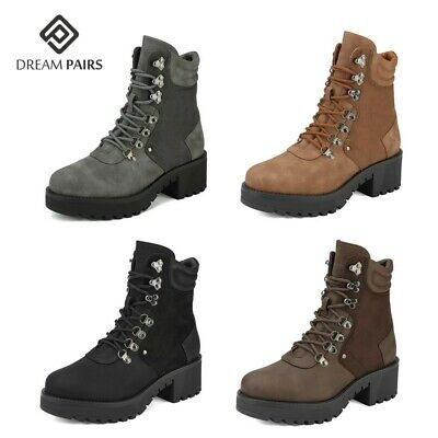 DREAM PAIRS Women's Faux Fur Ankle Boots Lace-Up Combat Mid Heel Military Shoes