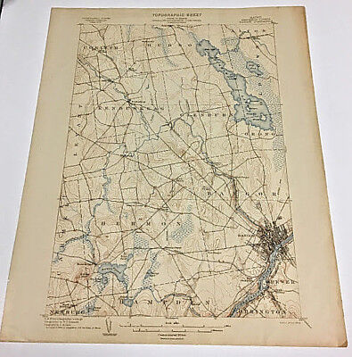 1902 Edition Bangor Penobscot County Maine Map Topographical  Quadrangle