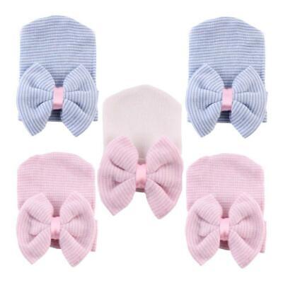 Girls Baby Infant Striped Soft Hat with Bow Cap Hospital Newborn Boy Beanie Hat