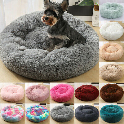 UK large Luxury Shag Warm Kitten Fluffy Pet Donut Bed Dog Puppy Fur Cushion Mat