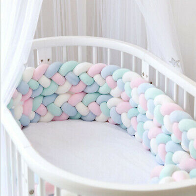 Infant Plush Crib Bumper Bed Bedding Cot Braid Pillows Cushion Pad Protect 2M-6M