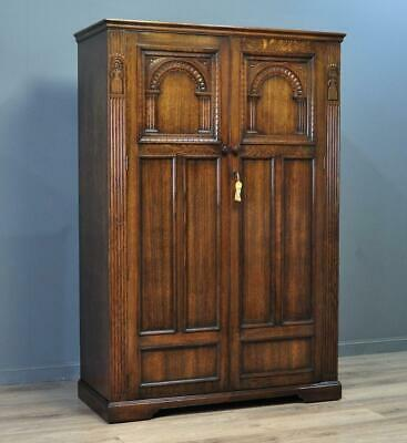 Attractive Large Vintage Tudor Style Carved Panelled Oak Double Door Wardrobe
