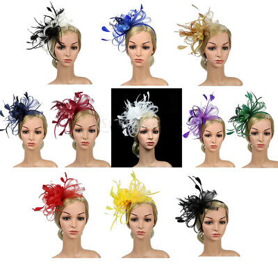 Women Feather Bowknot Headband Alice Band Fascinator Day Wedding Royal Ascot