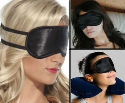 Masque Nuit Noir Yeux Sommeil Voyage Avion Relaxation Repos Occultant
