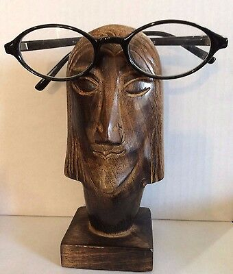 "Beautiful Wood Carved Face Eyeglasses Holder 6 1/2""Tall"